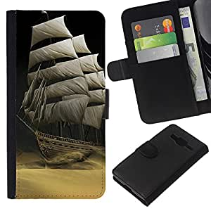Planetar® Modelo colorido cuero carpeta tirón caso cubierta piel Holster Funda protección Para Samsung Galaxy Core Prime / SM-G360 ( Sailing the desert )
