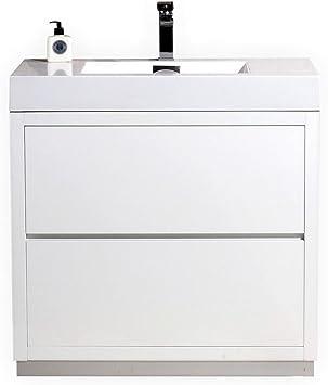 Kubebath Bliss 30 High Gloss White Free Standing Single Sink Modern Bathroom Vanity Amazon Com
