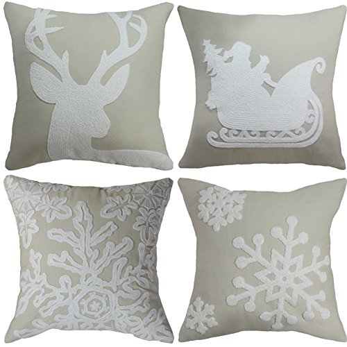 Set of 4 Christmas Pillow Cover Embroidered Snowflake Santa Reindeer Xmas Tree Throw Pillow Case 18