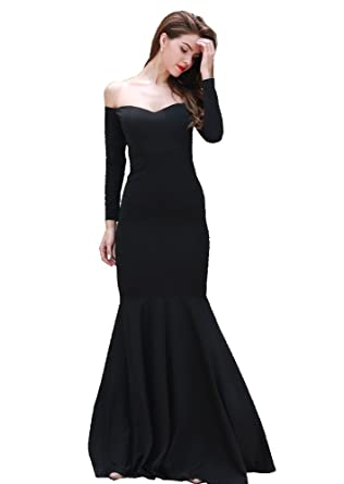 afa969ea40c1 Miss ord Women's Long Sleeve Word Shoulder Bra Mermaid Floor Length Party  Dress Black X-