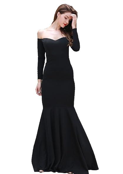 Missord Womenu0027s Long Sleeve Word Shoulder Bra Mermaid Floor Length Party  Dress Black X Small