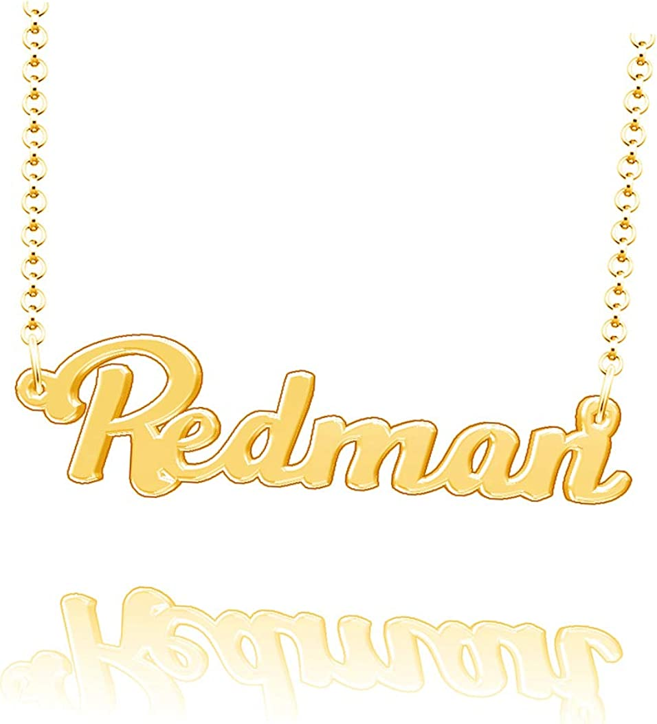 LoEnMe Jewelry Redman Name Necklace Sterling Silver Plated Custom Made of Last Name Personalized Gift for Family