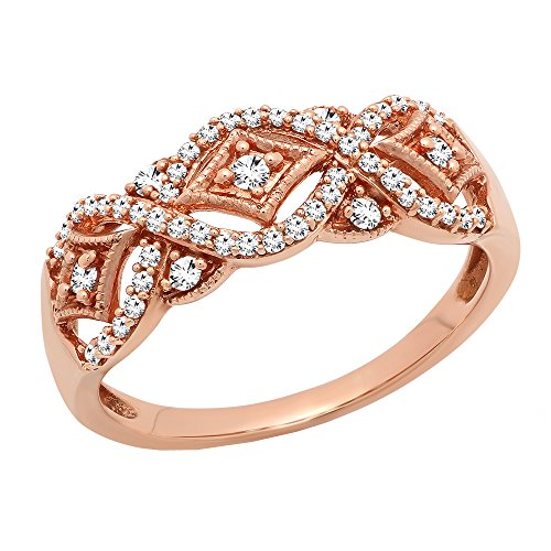 Dazzlingrock Collection 0.33 Carat (ctw) 10K Round Diamond Ladies Vintage Style Wedding Band 1/3 CT, Rose Gold, Size 8
