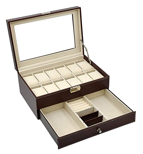 AUTOARK Leather 12 Mens Watch Box with Jewelry Display Drawer Lockable Watch Case Organizer,Brown,AW-003 from AUTOARK