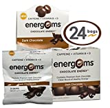 Energems Dark Chocolate Energy Boost with Caffeine, Vitamin B, Vitamin D, Antioxidants, with L-Theanine - Contains 72 Chocolate Dietary Supplement Gems (1 Box w/24 bags)