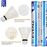 KEVENZ 24-Pack Goose Feather Badminton Shuttlecocks with Great Stability and Durability, High Speed Badminton Birdies Balls