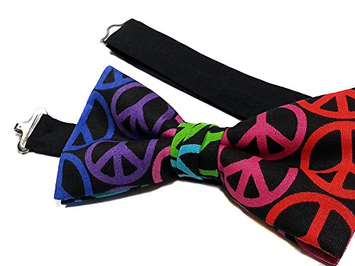 EmilyRose Couture Psychadelic Neon Colors Peace Sign Bow Tie-adjustable Neck Strap, Pre Tied for Men (Peace Sign Couture)