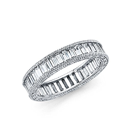 (Jewels By Lux 14K White Gold 4mm Baguette Channel Set Cubic Zirconia CZ Eternity Ring Anniversary Wedding Band .08 CTTW Size 8)