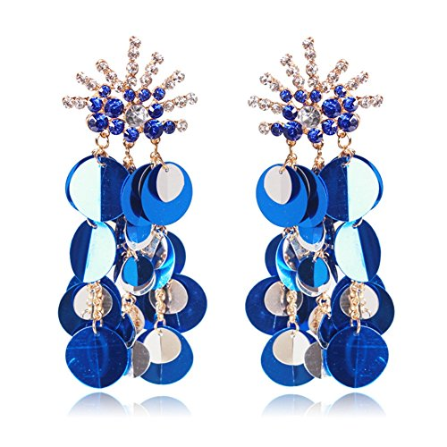 Country Western Dance Competition Costumes (Women Tassel Sequins Dance Earrings Ear Stud Fashion Jewelry Long, Blue)