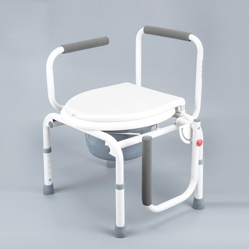 トイレシート 高齢者のためのアンチスリップ入浴椅子妊娠中の女性座っているトイレ便座身体障害のある調節可能な高さの椅子 B07D6JC1WS