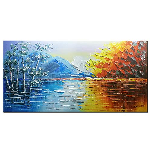 (Okbonn-Landscape Wall Art 3D Hand Painted Mountains Oil Paintings on Canvas Blue and Brown Abstract Artwork Framed Large Wall Art for Living Room Bedroom Office Home Decor(24x48in)