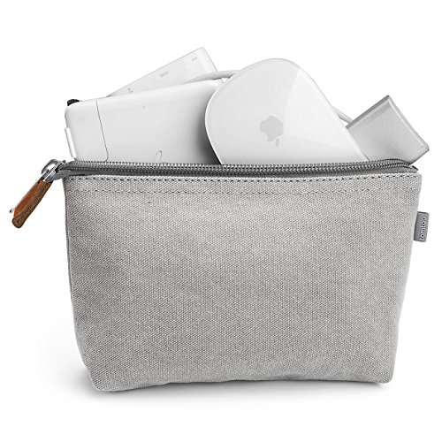 tomtoc Portable Canvas Storage Pouch Bag Case Accessories Organizer Compatible Laptop Mouse, Power Adapter, Cables, Cellphone, SSD, HDD Enclosure, Power Bank