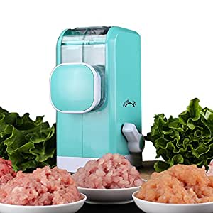 SOLOOP Hand Crank Manual Meat Grinder with Powerful Suction Base/Stainless Steel Blades /Quickly and Effortlessly Grind Meat,Vegetables,Fruits Shredder Peacock Blue