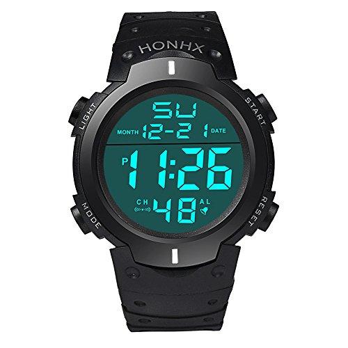 Men Digital Wrist Watch,Napoo Clearance Boy Fashion Waterproof LCD Stopwatch Date Rubber Sport Watch (White)