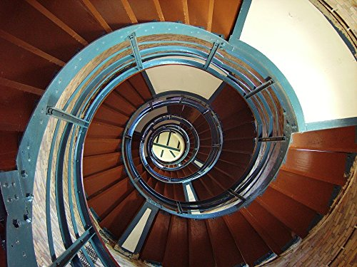 Home Comforts Acrylic Face Mounted Prints Architecture Steps Staircase Spiral Lighthouse Print 14 x 11. Worry Free Wall Installation - Shadow Mount is Included.