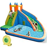 Costzon Inflatable Slide Bouncer, Water Pool with Long Slide, Climbing Wall, Including Oxford Carry Bag, Repairing Kit, Stakes, Castle Bounce House for Kids (with 735W Air Blower)