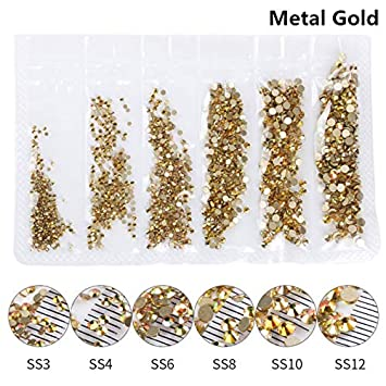 Buy SYHUEW Metal Gold  1 Pack Flatback Glass Nail Rhinestones Mixed Sizes  Ss3-Ss12 Nail Art Decoration Stones Shiny Gems Manicure Accessories Metal  Gold ... 9aeeb9e35ffc