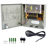 LETOUR DC Power Supply 4 Channel Port Output 12V 45W CCTV Electrical Box Distributed Power Supply Box with AC Power Line and Key (4CH 3.5A 45W)