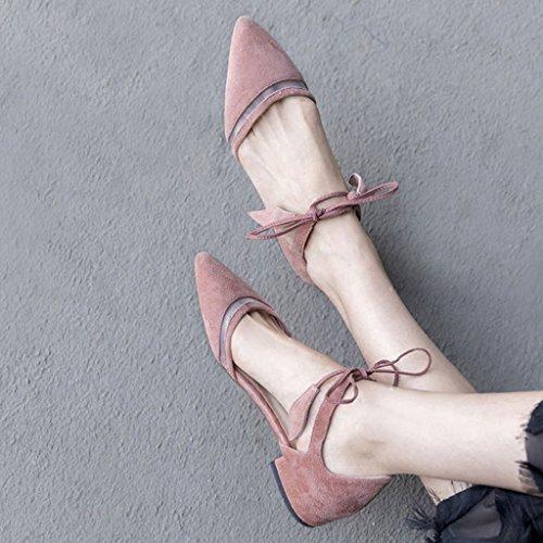 Lotus de Sandalias Verano Slim Shoes Straps bajo Tied acentuadas Tacón de de Malla Hollow Color Sandals Hombro TZqwA5q