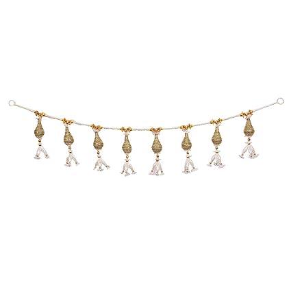 75b5f15c7b6 Ruba Enterprises Beautiful Handmade White and Golden Pearls Traditional  Elegant Pearl Door Hanging Toran