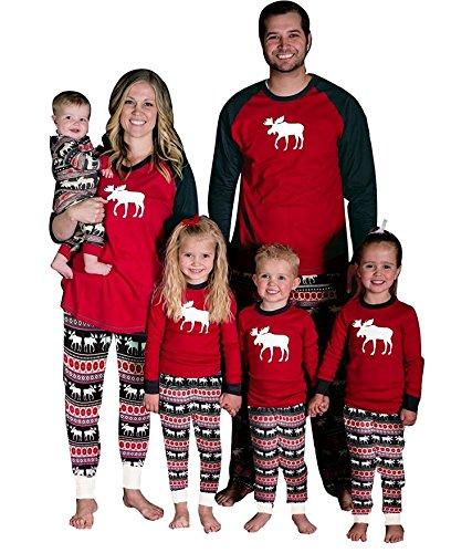 Di Renna Mamma Rossi Bambini Pajamas Vacanza Suit Manica Lunga Set Stampati Due Pantaloni Top Per Di Rotondo Papà Pezzi Babbo Collo Natale Xmas Pigiama child Natale Lungo Famiglia dqwC7d