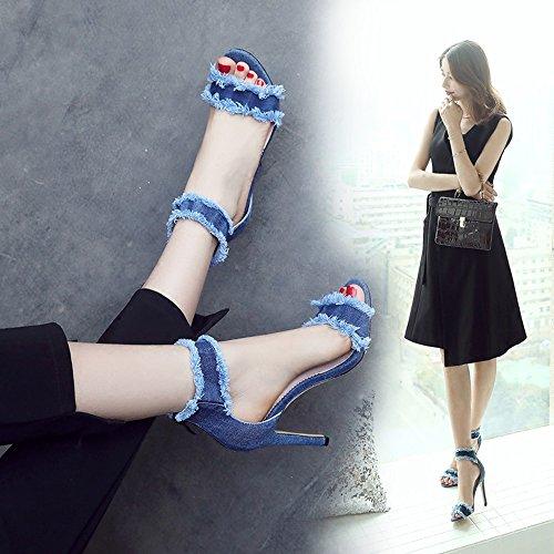 Azul del Club los Dedo Azul Sandalias de Tamaño Feifei del EU36 pie Azules 10CM Abierto de Altos Color Nocturno Dril Romanos 5 Zapatos UK3 Algodón CN35 del Verano Zapato del Talones nx07HAw0S