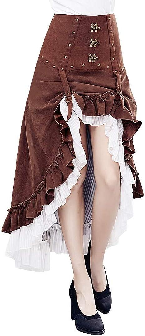 Qbuds falda gótica estilo steampunk para mujer, falda de pirata ...