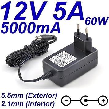 Cargador Corriente 12V 5A 5000mA 5.5mm 2.1mm 60W Wall Plug ...