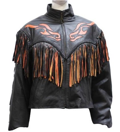 Women's Fringe Leather Motorcycle Jacket with Flames (Size 3XL, (Womens Flame Jackets)