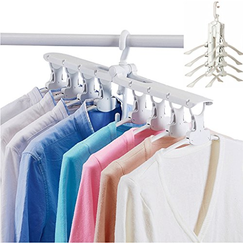 Magic Clothes Hanger Closet Storage Hanger, Yoobaby Collapsible Folding Space Saving Closet Organizer Hanger Non-slip, Drying Clothes Direct Storage in Closet, White by Yoobaby