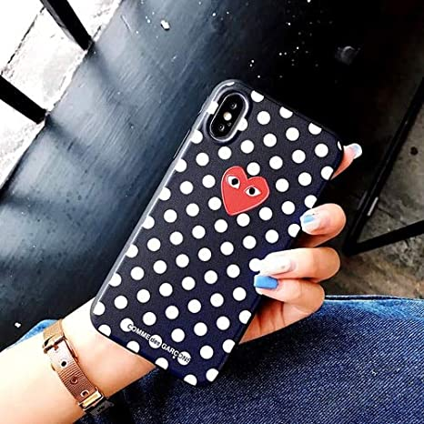 ebe053b65d69 Amazon.com  Fitted Cases - Hot CDG Play Comme Des Garcons Heart Phone Case  for iPhone 6 6Plus Soft Love Wave Point Cover Cases for iPhone 7 7Plus 8  8Plus X ...