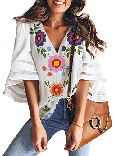 BLENCOT Women Cute Floral Print V Neck 3/4 Bell Sleeve Fashion Chiffon Blouses Casual Loose T-Shirt Tops White X-Large ()