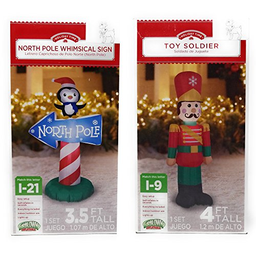 Airblown Inflatable Outdoor Christmas Characters, 2 Piece Set, Toy Soldier And North Pole