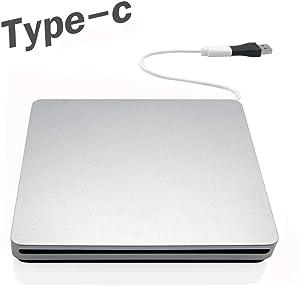 Cisasily External DVD Drive CD Player USB C USB3.0 Portable CD/DVD RAM Burner/Writer/Reader High Speed CD/DVD Read/Write Compatible with Windows/Mac OS for Laptop Desktop MacBook Air iMac