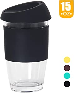 Smilatte 15 oz / 450ml Reusable Glass Coffee Cup, Portable Large Travel Mug with Silicone BPA Free Eco Lid Perfect for Home Office, Black