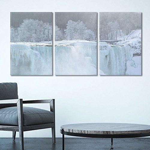 3 Panel Landscape of Frozen Waterfall in Winter Gallery x 3 Panels