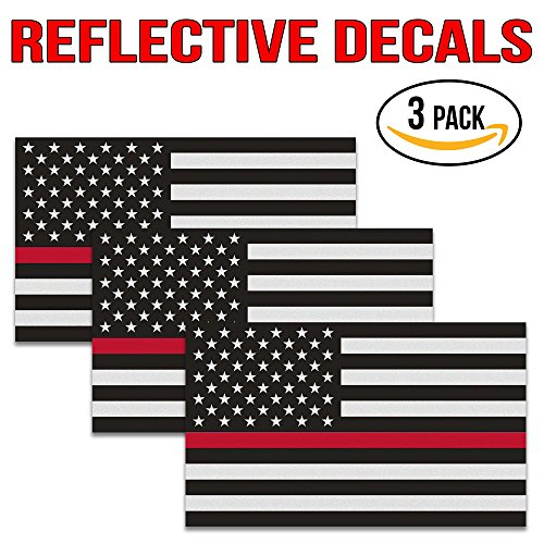 "Thin Red Line Decal – Perfect 5""x3"" UV Outdoor Laminated Flag Reflective Decal Stickers for Cars, Trucks, and SUVs - In Support of Support of Firefighters and EMTs (3 Pack) - Firefighter Emt Decals"