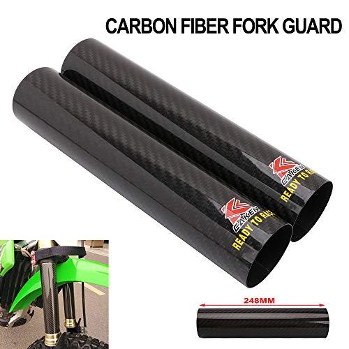 Kawasaki Carbon Fiber Cover - Motorcycle Fork Carbon Fiber Wrap Boots Gator Guard Protector Front Shock Covers Gaiters For KTM Honda Yamaha Kawasaki Suzuki Dirt Bike - 9.7 Inch