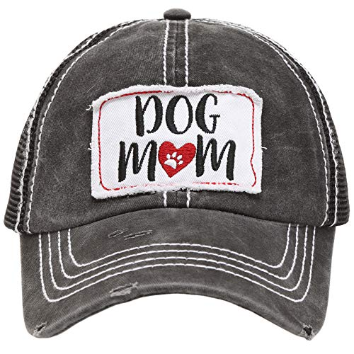 (MIRMARU Women's Baseball Caps Distressed Vintage Patch Washed Cotton Low Profile Embroidered Mesh Snapback Trucker Hat (Dog Mom,)