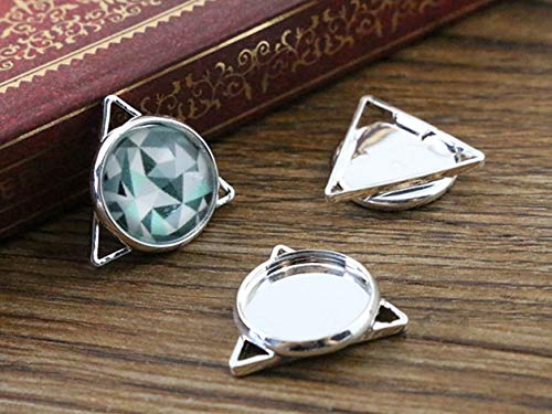 Pendant Trays - 16pcs 12mm Inner Size Silver Plated Brass Material Simple Style Cabochon Base Cameo Setting Charms Pendant Tray (A2-49)