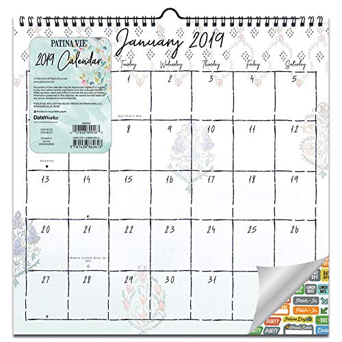 Patina Vie Flower 2019 Wall Calendar for Women Set - Deluxe 2019 Floral Wall Calendar Bundle with Over 100 Calendar Stickers (Spiral Bound; Floral Office Decor)
