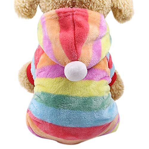 LowProfile Rainbow Striped Pet Hoodie,Dog Cat Cute Colorful Villus Jumper,Soft Puppy Pajamas Customes
