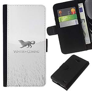 YiPhone /// Tirón de la caja Cartera de cuero con ranuras para tarjetas - Winter Is Coming Stark - LG OPTIMUS L90