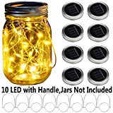 nomioce 8 pack solar mason jar 10 led lid string lights with 8 handles,fairy starry firefly lights