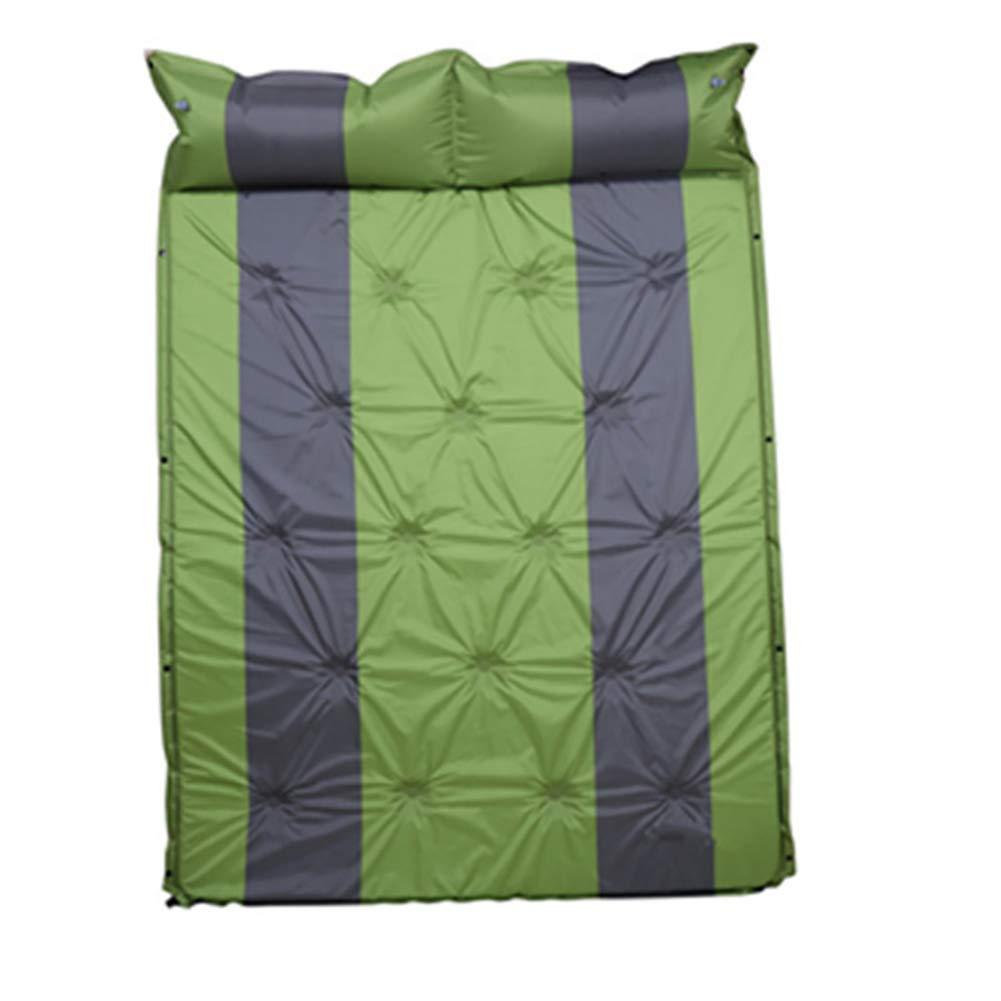 キャンプ用 エアーマット自己膨張インフレーティング 折りたたみ コンパクトレジャーマット防水収納袋付印刷 B07QDNJ4XD green  green