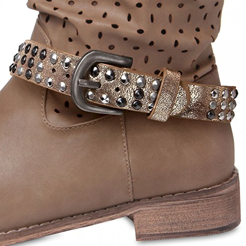 STB006 CASPAR colours Womens with Strap Boot Metallic Studs Gold Accessory many 00xp86qr