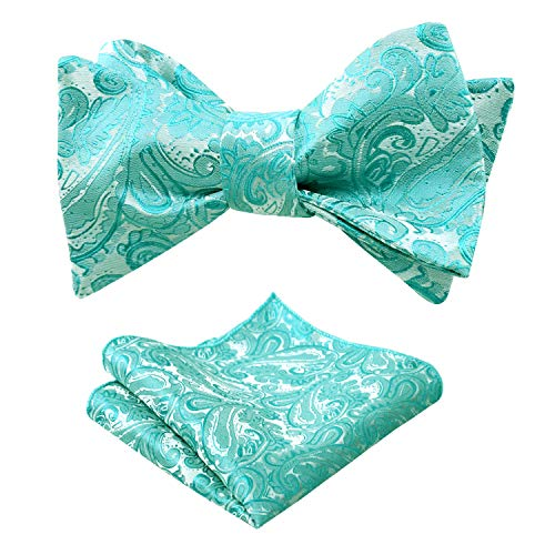 Alizeal Mens Paisley Jacquard Self Bow Tie Pocket Square Set (Green Turquoise)