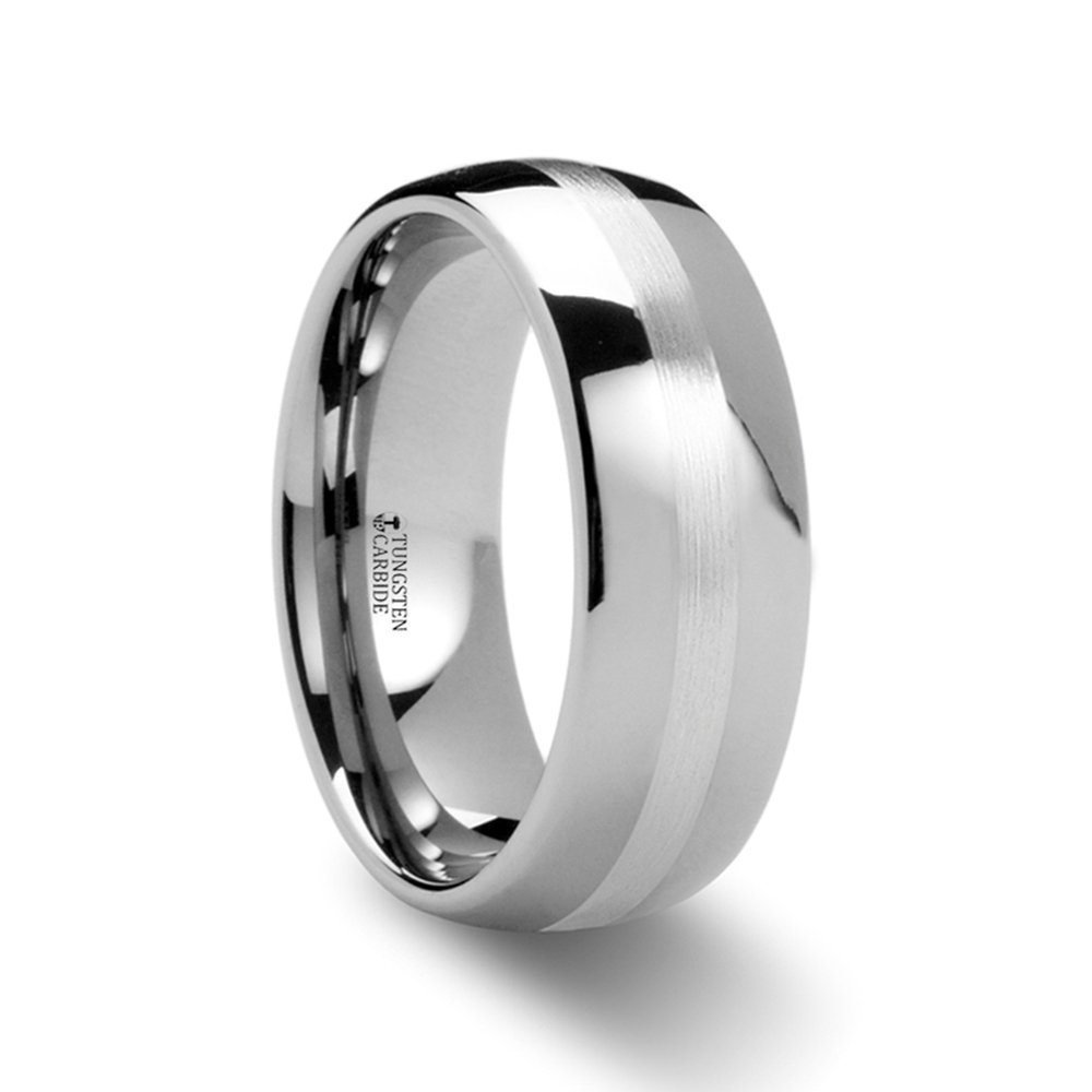 8mm CASSIUS Silver Inlaid Domed Tungsten Ring
