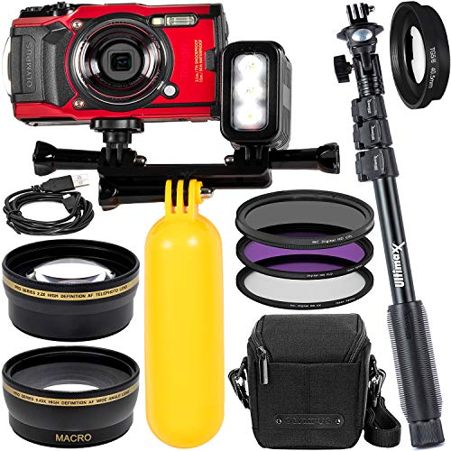 """Olympus Tough TG-6 Digital Camera (Red) with Rechargeable Underwater LED Light and Bracket, Carrying Case, Floating """"Bobber"""" Style Handle, 48"""" Monopod, Filter Adapter Ring, 3PC Filter Set & More"""