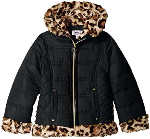 Amy Byer Big Girls' Moto Puffer with Animal Print Faux Fu...
